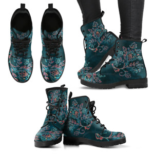 Floral Paisley Green Handcrafted Women's Vegan-Friendly Leather Boots