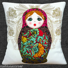 Large Russian Doll Cushion Cover 16x16 inch 40cm Pink Red Aqua Beige on White
