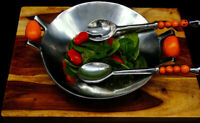 Luxury Handcrafted Salad Serving Bowl & Serving Spoons/Perfect Gift!