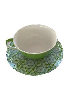 T2 Green Pattern Tea Cup & Saucer