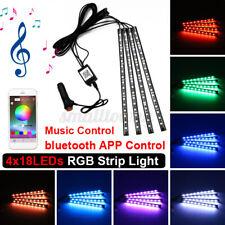 4x 18LED RGB Car Interior Atmosphere Footwell Strip Light USB Charger Decor Lamp