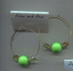 ALEX & ANI GREEN crystal & bead earrings