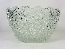 Vintage Cut Crystal Bowl Buttons and Daisies Glass Accent Bowl