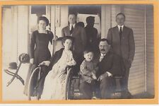 Real Photo Postcard RPPC Men Women Boy on Porch - Woman in Wheelchair Disability