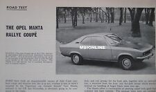 1971 Opel Manta Rally Coupe Original Motor Sport magazine Road test