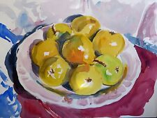"Impresionante doranne Alden Original ""bodegón de Cezanne"" peras en gozo Pintura"