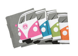 VW Camper Tea Towel - Retro Camping Design Blue/ Green/ Orange/Pink 100% Cotton