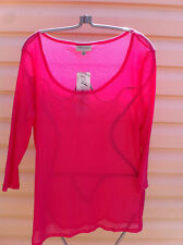SEXY AUTOGRAPH HOT PINK SHEER 3/4 SLEEVE TOP SIZE 20 BNWT