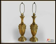 Vintage 60s Mid Century Pair of Gold Brass Asian Chinese Regency Urn Lamps