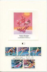 1992 FDI, WINTER OLYMPICS,ALBERTVILLE FRANCE, SET 6 PROOF CARDS