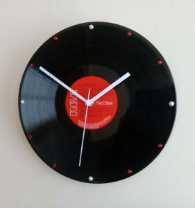 """Hand Made Vintage Record Wall Clock 12"""" White Hands Red Vinyl LP"""