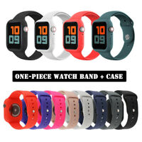 38/42/40/44mm One-piece Silicone Band+Case iWatch Strap for Apple Watch 5 4 3 2