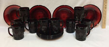 Ruby Red Glass Salad Dessert Plates & Mugs Luminarc Acoroc France Set 18 Vintage