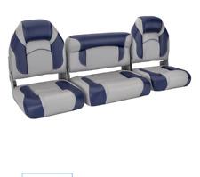 "Bass Boat Seats 59"" Bench Set 3 Piece Marine Grade 30 Oz Vinyl Light Gray & Blue"
