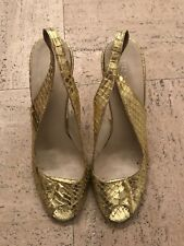 Sandali Heels PRADA in pitone oro open toe