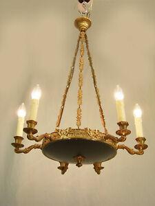 französischer  Kronleuchter Deckenlampe Empire Stil  Messing  restauriert