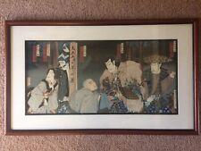 "Toyohara Kunichika ""Kabuki Actors"" Original Triptych Woodblock Print C1880"