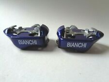 *NOS Vintage 1990s BIANCHI SPD clipless blue road pedals with cleats*
