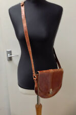 Vintage Distressed Tan Leather Satchel Pouch Crossbody Bag Boho