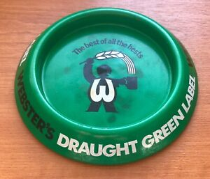 WEBSTERS GREEN LABEL METAL ashtray