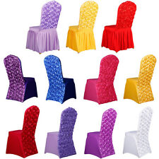 Stretch Rose Thicken Banquet Chair Covers Events Spandex Pleated Wedding Decor