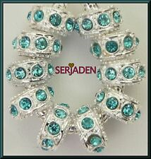 10 Aqua Stone Spacer Charms Fits European Style Jewelry 6 * 12 & 5 mm Hole  R117