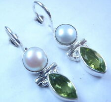 Faceted Peridot and Cultured Pearl 925 Sterling Silver Wire Back Earrings