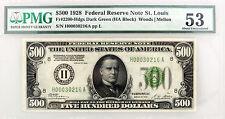 1928 $500 FRN St. Louis Fr#2200-Hdgs Dark Green Seal HA Block PMG AU53 Minor Rep