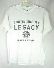 """Gold's Gym Men's T-Shirt Medium White """"Legacy... Silver and Strong""""  O"""