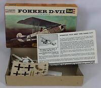 Revell 1964 H-632 Fokker D-VIII 1:72 Scale OPEN BOX – NEW – Missing Stand