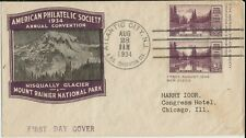 1934 Farley first-day cover with Mt. Rainier 3-cent imperforate pair and cachet