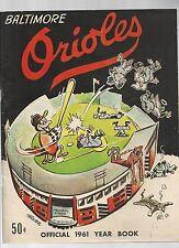Original   1961  Baltimore Orioles Yearbook    Excellent condition