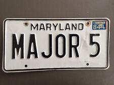 Original Vintage 1984 Maryland Auto Vanity License Plate Tag MAJOR 5