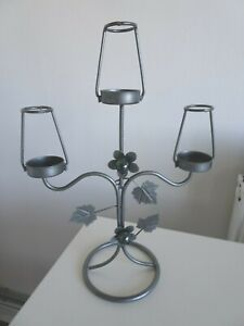 Candle Stick Holder 3 arm Silver Colour Metal Leaves Flowers Green Glass 30.5cm