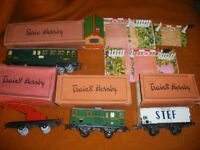 Lot Train ancien Tole Echelle O Meccano HORNBY 0 Wagons passage à niveau France