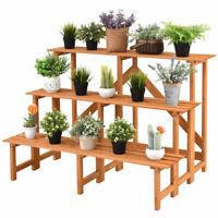 3 Tier Wide Wood Plant Stand Display Rack Shelves Flower Pot Holder Step Ladder