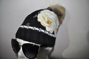 Damen Stickerei Mütze von Bogner NEU mit Echt Pelz Bommel , Skimütze