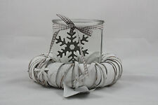 ''Ring'' with snowflake Shabby Chic Vintage Retro Style White candle holder