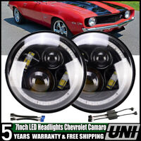 For Chevrolet Camaro LED Headlight 7'' Inch Round Projector DRL Lights H4-H13