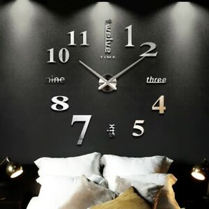 New Home decoration big mirror wall clock modern design 3D DIY large decorative