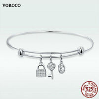 Voroco S925 Sterling Silver Bracelet Bangle Life Tree Charm CZ Women Necklace