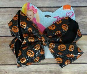 JoJo Siwa Halloween Hairbow Bow Orange and Black Jack-O-Lantern Sequin Bow