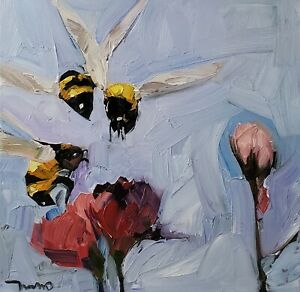 JOSE TRUJILLO Oil Painting IMPRESSIONISM MODERN COLLECTIBLE BEES FLOWERS FLORAL