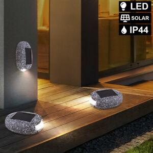 3er Set LED Außen Garten Deko Solar Steine grau Steh Wand Lampe Leuchte Hof Weg