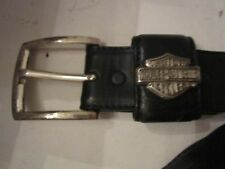 HARLEY-DAVIDSON BLACK LEATHER BELT WITH METAL LOGO - SIZE 34 - SEE PICS -TUB BMA