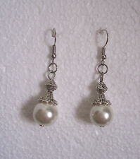 Tibetan Silver Faux Pearl Clip-on Earrings - Bridesmaid
