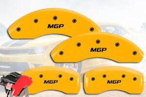 "2003-2006 Saturn Ion Front + Rear Yellow ""MGP"" Brake Disc Caliper Covers 4p Set"