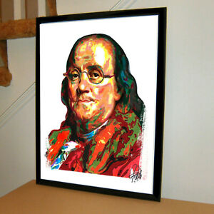 Benjamin Franklin Founding Fathers United States Poster Print Wall Art 18x24