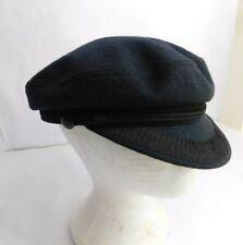 Vintage Gentil Marine  Paris' Captain Cap Hat Black Rope side buttons Wool Lined