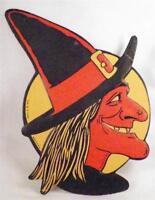 Halloween Witch Sorceress Hag Vintage Die Cut Decoration H E Luhrs Beistle USA